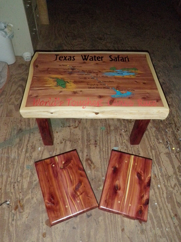 Handmade Cedar Coffee Table With Footstools To Be Raffled Off At Texas Water Safari Banquet